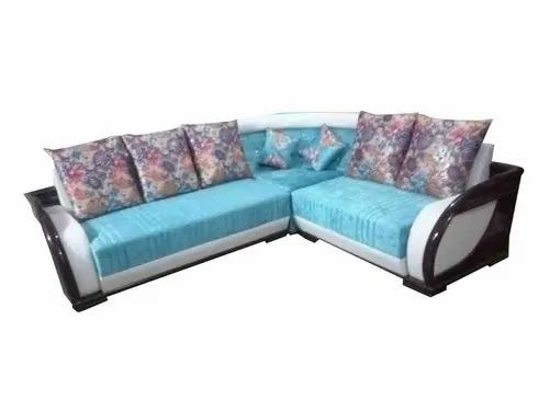 Open Furnitures Sky Blue L Shape Sofa, Back Style: Cushion back, 4 Years
