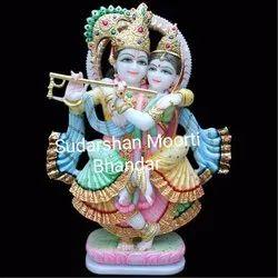 Painted Radha Krishna Statue