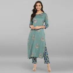 Janasya Women''''s Turquoise Green Rayon Kurta With Pant(SET094)