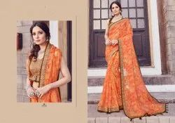 Digital Print Ladies  Linen Cotton Saree 6.3 m (With Blouse Piece)