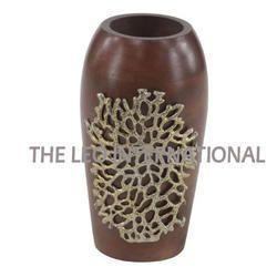 brown color wooden flower vase