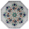 White Marble Inlay Dining Table Top, Marble Pietra Dura