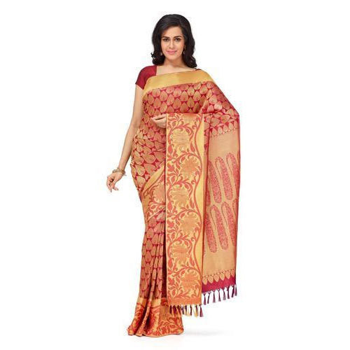 Party Wear Banarasi Silk Saree, With Blouse Piece
