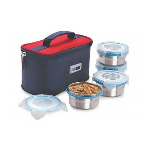 9bbf2414025 Multicolor 4 Piece Airtight Steel Lunch Box