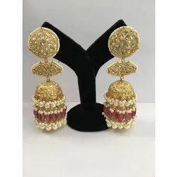 22 Carat Gold Natural Uncut Diamond Polki Jadau Jhumka Earrings