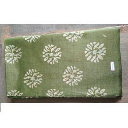Green And White Printed Cotton Silk Boutique Fabric, for Garments