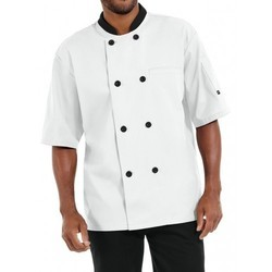 Chef Coat Short Sleeve White Color With Black Trimming