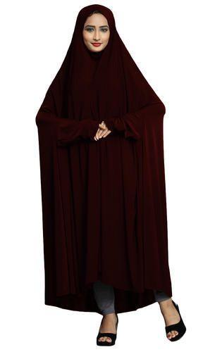 4c9046a35e28 Burgundy Color Stylish Saudi Islamic Chanderi Abaya Burkha, Rs 950 ...