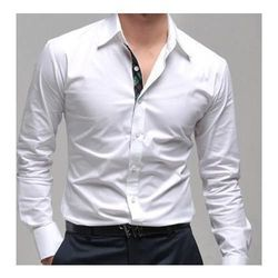 White Plain Mens Party Wear Shirt