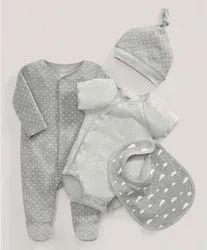 Organic Cotton Unisex Newborn Baby Dress, Set Of 4