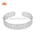 White Rhodium Plated Filigree Design Silver Cuff Bangle Jewelry
