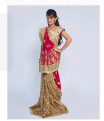 Golden Net Saree
