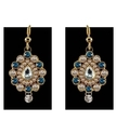 O-shped Blue Stone Brass Earring