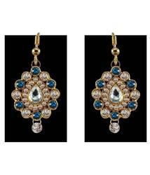 Blue Stone Brass Earring