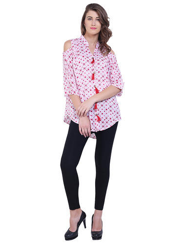 2c22e06070b87 Rayon Printed Fancy Long Semi Formal Top