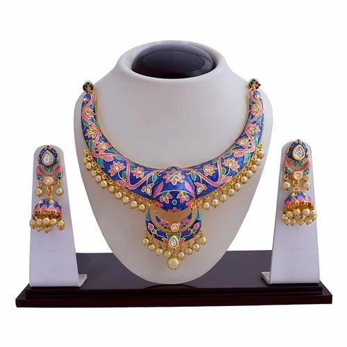 14f8fe4ffc Mk Jewellers India Meenakari Kundan Hasli Necklace Set, Rs 1000 ...