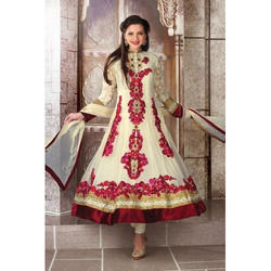 Net Full Sleeve Printed Anarkali Suit