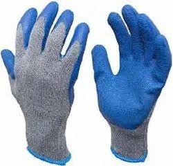 Blue Rubber Coated Gloves