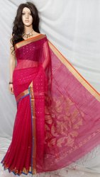 Hot Pink Resham Sequence Allover Saree