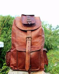 Vintage Leather Backpack, Shoulder Backpack, Rucksack, Leather Backpack, Handmade Leather Bag