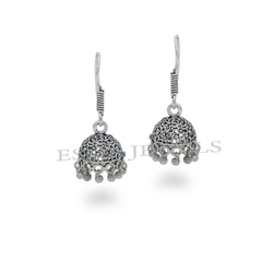 Light Weight Silver Oxidize Jhumki