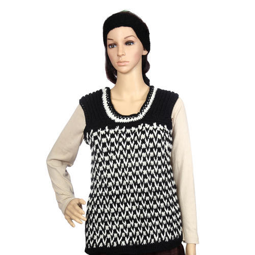 Ladies Black And White Crochet Half Sweater /vest, Crochet ...