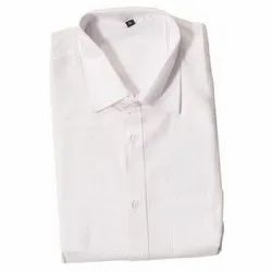 Collor Neck Plain Men's Pure White Formal Shirt, Machine wash