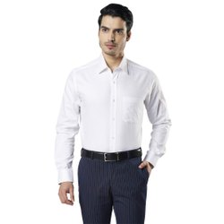 White Collar Neck Raymond Self Design Cotton Shirt