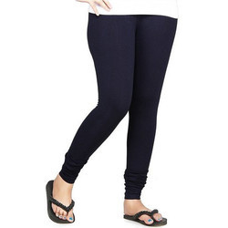 Blue Cotton Knitted Womens Premium Leggings