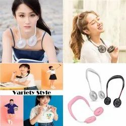 Wearable Portable Double Wind Head Mini Hands-Free Lazy Neckband Dual Fan With USB Rechargeable