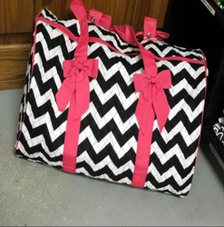 Pink And White And Black Printed White , Black And Pink Bag