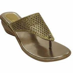 Polka Heels Golden Ladies Sandal, For Casual Wear, Size: 36-42