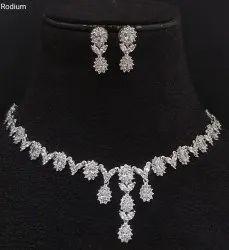 Silver American Diamond Necklace Set, Size: Free