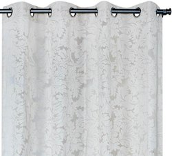 52 x 90 inch Floral Paisley Fossil  Sheer Curtain