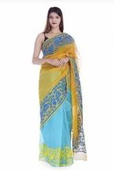 Party Wear Designer Printed Supernet Embroidred Saree With Blouse Piece