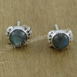 Labradorite Stone Designer Jewelry 925 Silver Stud Earring