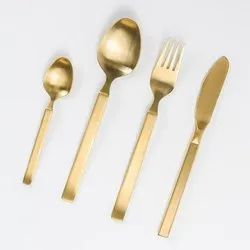 4 Pieces Polished Gold Plated Brass Cutlery Sets, For Home
