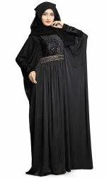 Women's Dubai Style Velvet Stretchable Soft Material Outdoor Wear Abaya Burqa