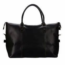 Genuine Leather Weekender Overnight Luggage Travel Duffle Bag (Black)