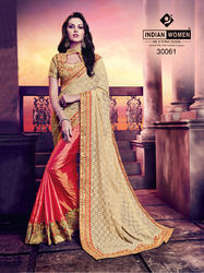 Women Rassel Net and Silk Off White and Orange Indian Saree