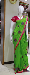 Green Gorgeous Printed Party Wear Saree With Blouse Piece