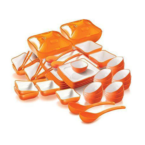 Nayasa White and Orange 58 PC Treat Dinner Set