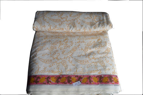 White Hand Block Printed Cotton Sangneri Jaipuri Fabric for Garments