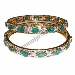 Diamond & Emerald Gold Plated Bangle