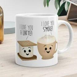 Ceramic White Printed Coffee Mug, Packaging Type: Box, 280 Ml
