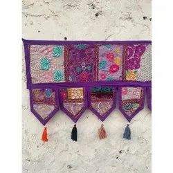 Decorative Cotton Hand Embroidered Patchwork Cotton Ethnic Wall Hanging Home Decor Toran