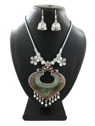 Fancy Chain Necklace with Earrings