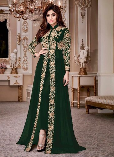 India Attiers Georgette Ladies Party Wear Designer Semi Stitched Anarkali Suits Machine Wash Rs 4000 Piece Id 16065042762