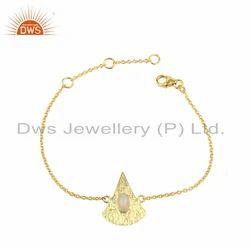 Texture Gold Plated Silver Ethiopian Opal Gemstone Chain Bracelet