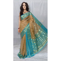 Brown And Blue Pure Tossor Bomkai Saree